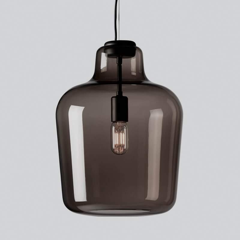 Glazen hanglamp Say my name, rookgrijs