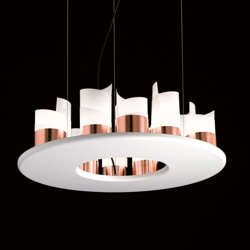 Houten hanglamp Caracòl met koperen touch