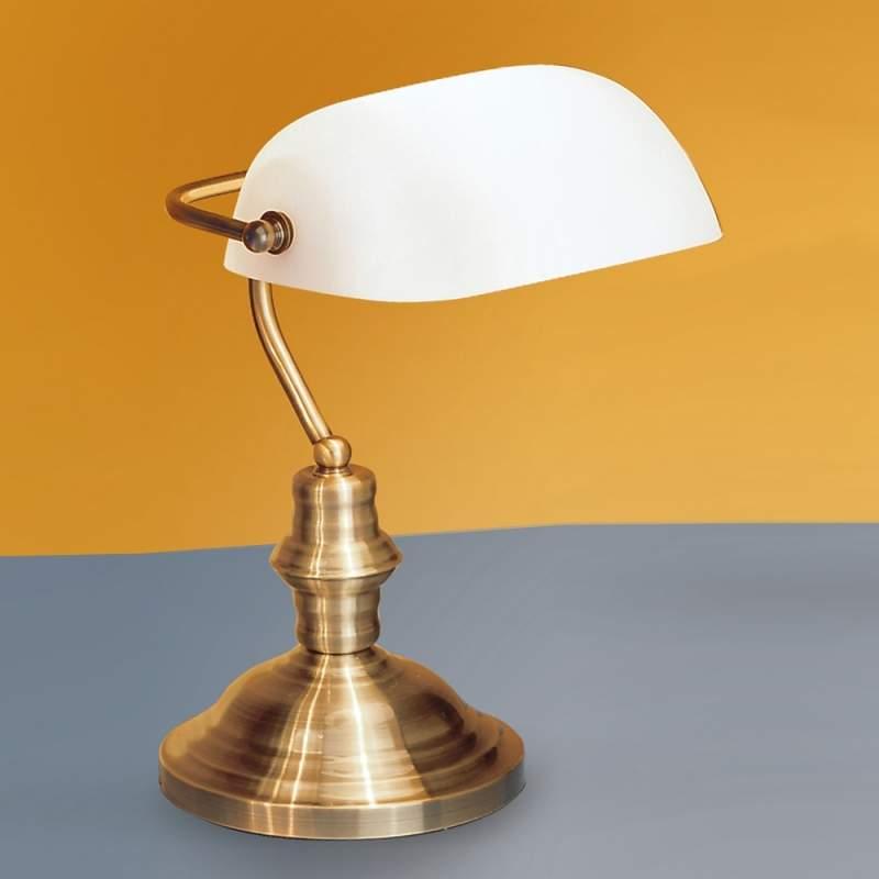 Tafellamp Onella in Bankier-stijl, opaal