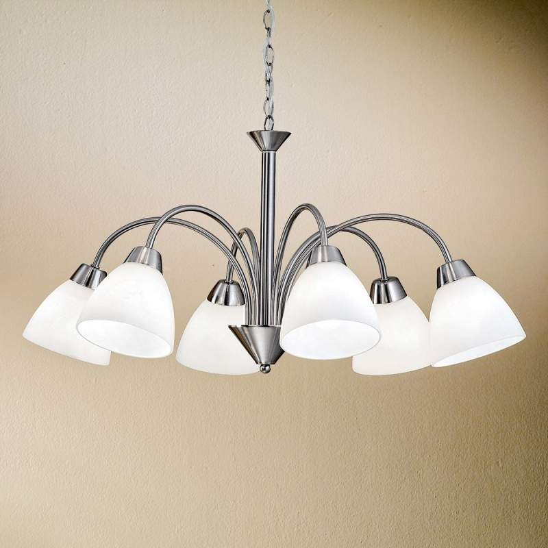 Charmante hanglamp KINGA, 6-lichts - nikkel