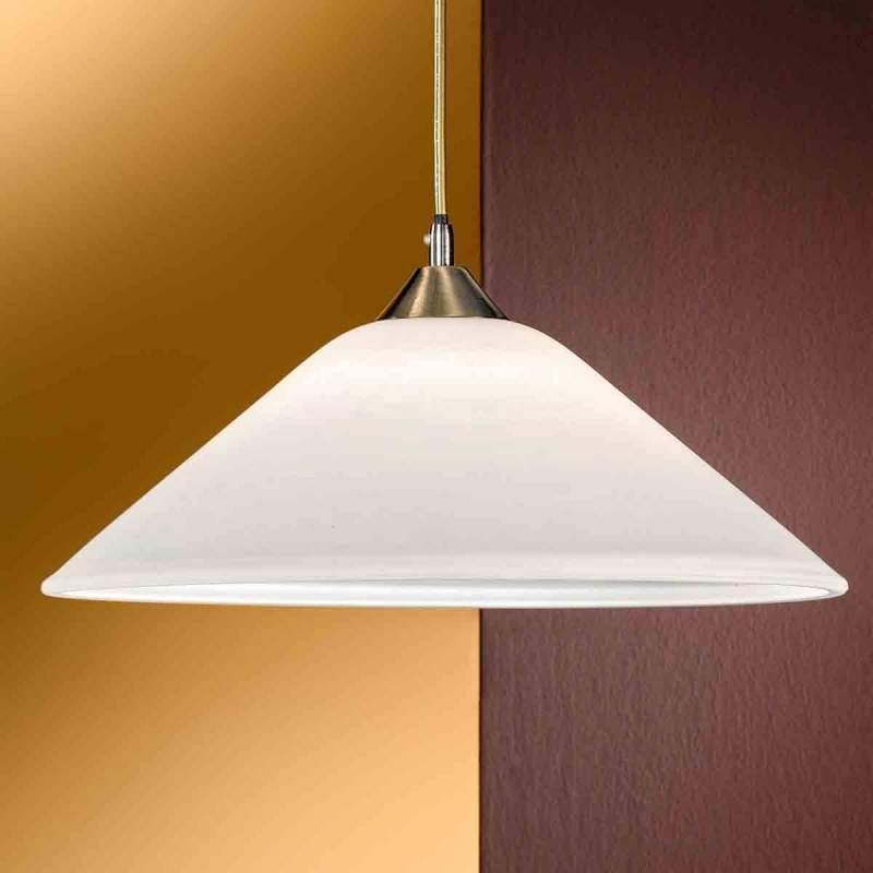LOISA stijlvolle opaalglas-hanglamp, oud-messing