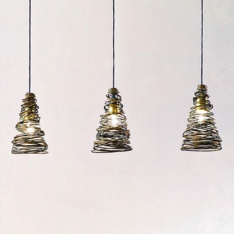 3-lichts hanglamp FASCIATA met wikkeloptiek