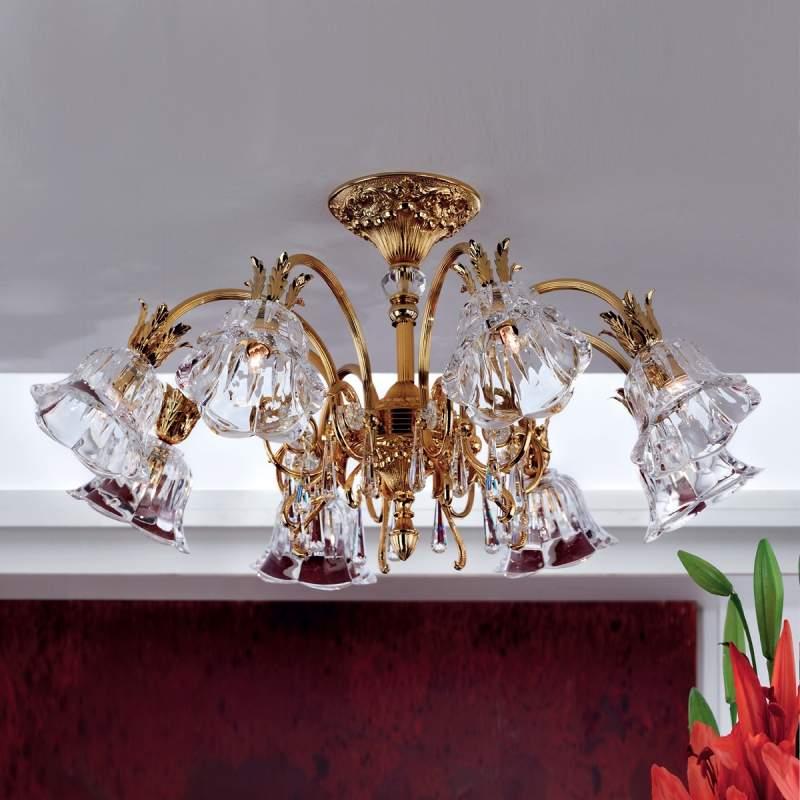 KAISA - goudglanzende kroonluchter, 8-lichts