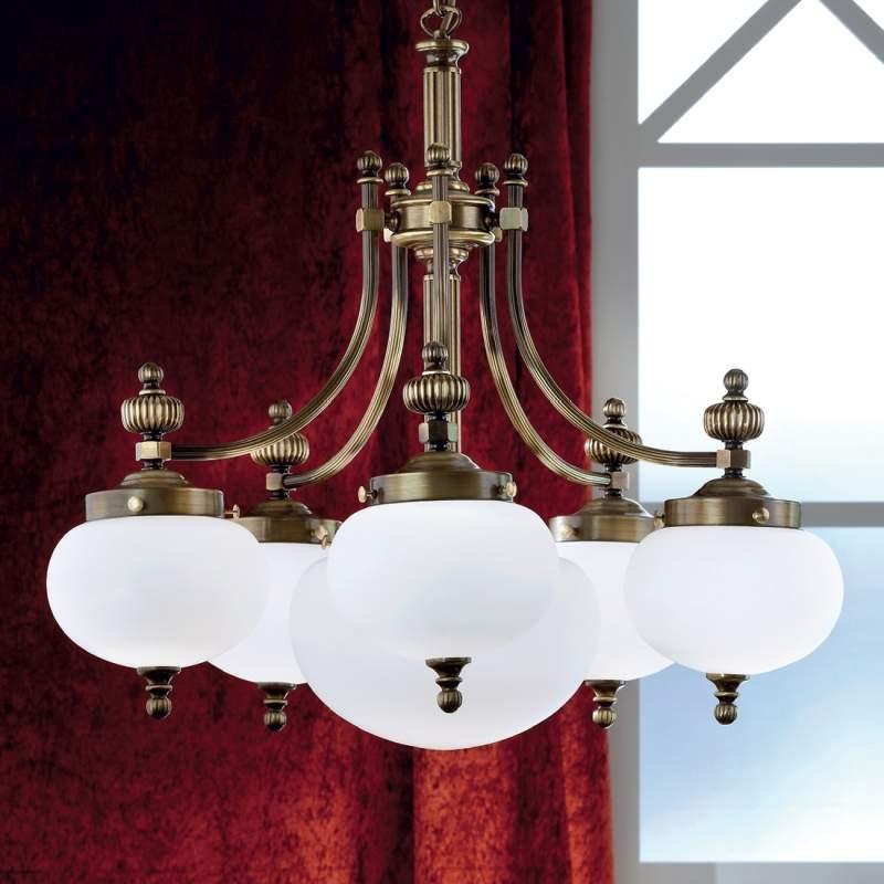 Stijlvolle 6-lichts hanglamp DELIA, oud messing
