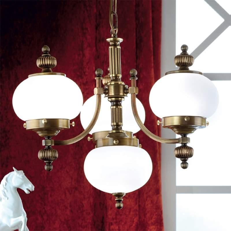 Stijlvolle hanglamp DELIA in oud messing