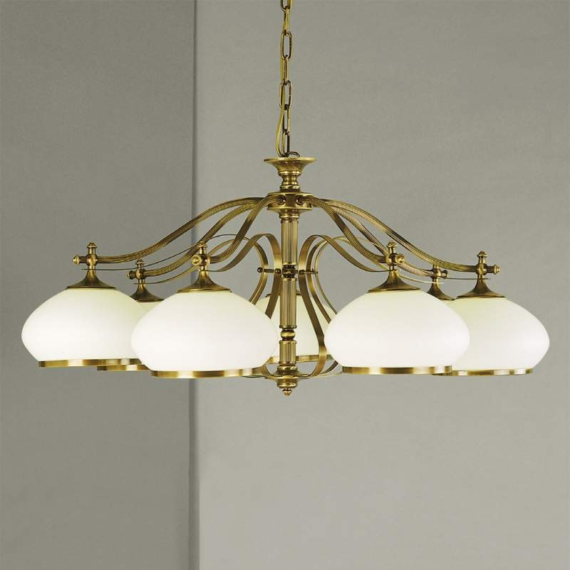 Betoverende hanglamp Empira, 7-lichts oud-messing