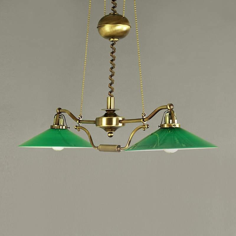 Groene hanglamp VERDINA in patina-look