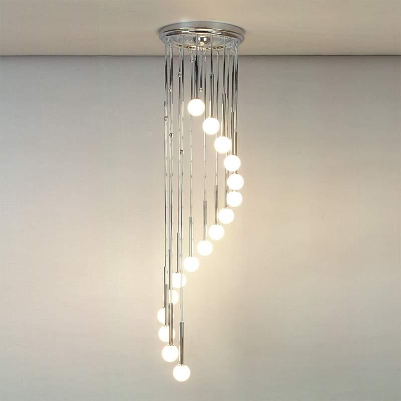 Verchroomde hanglamp TALISA met opaalglas