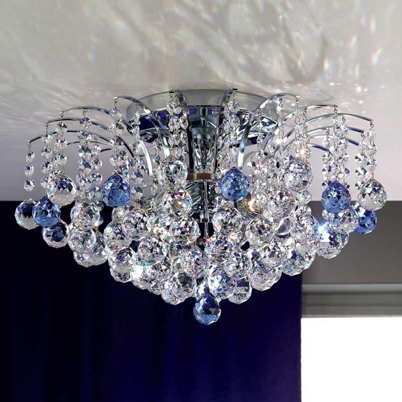 LENNARDA - kristallen plafondlamp blauw/chroom