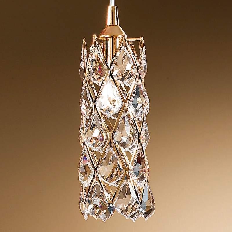 Vergulde hanglamp CHARLENE met kristallen