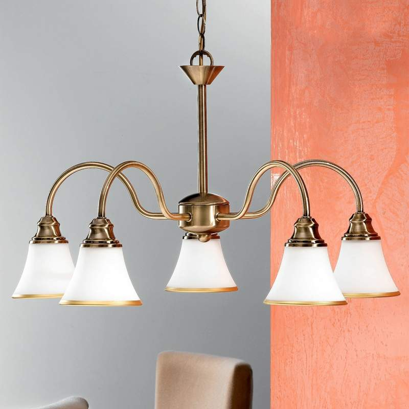 TILDA - 5-lichts hanglamp, oudmessing-look