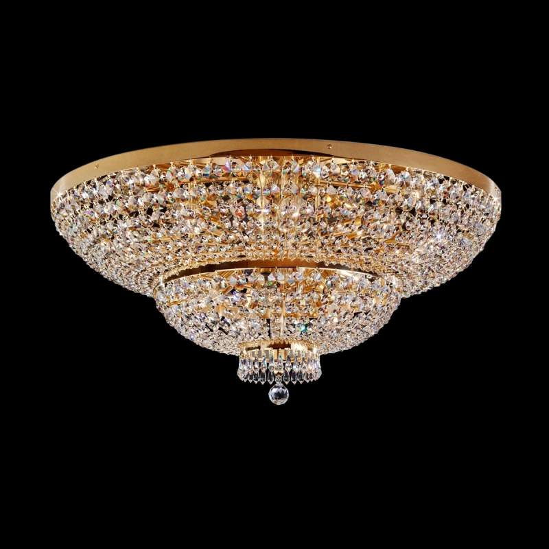 Vergulde plafondlamp Sherata met kristal, 18-l