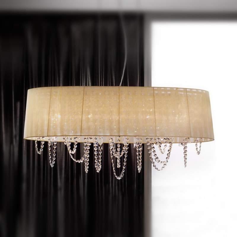 Vergulde hanglamp Jevana met kristalhangers