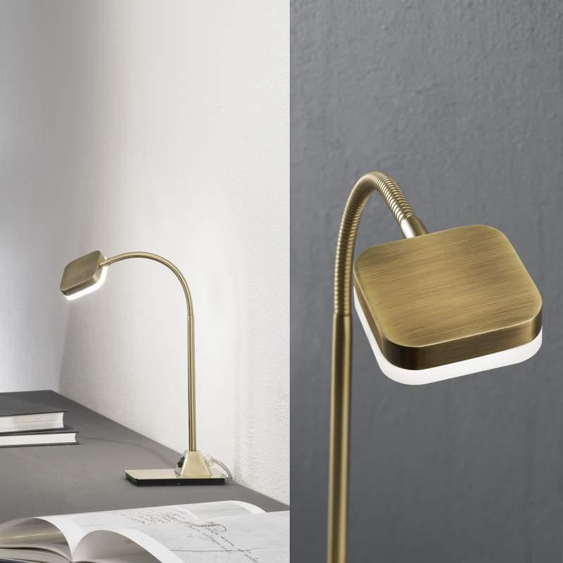 Flexibele LED-tafellamp Tobias, antiek messing
