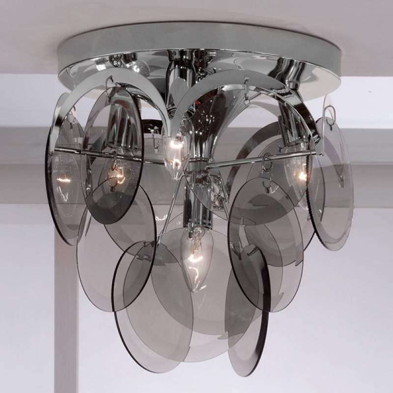 Plafondlamp Carolo met rookglas hangers, 4-lichts