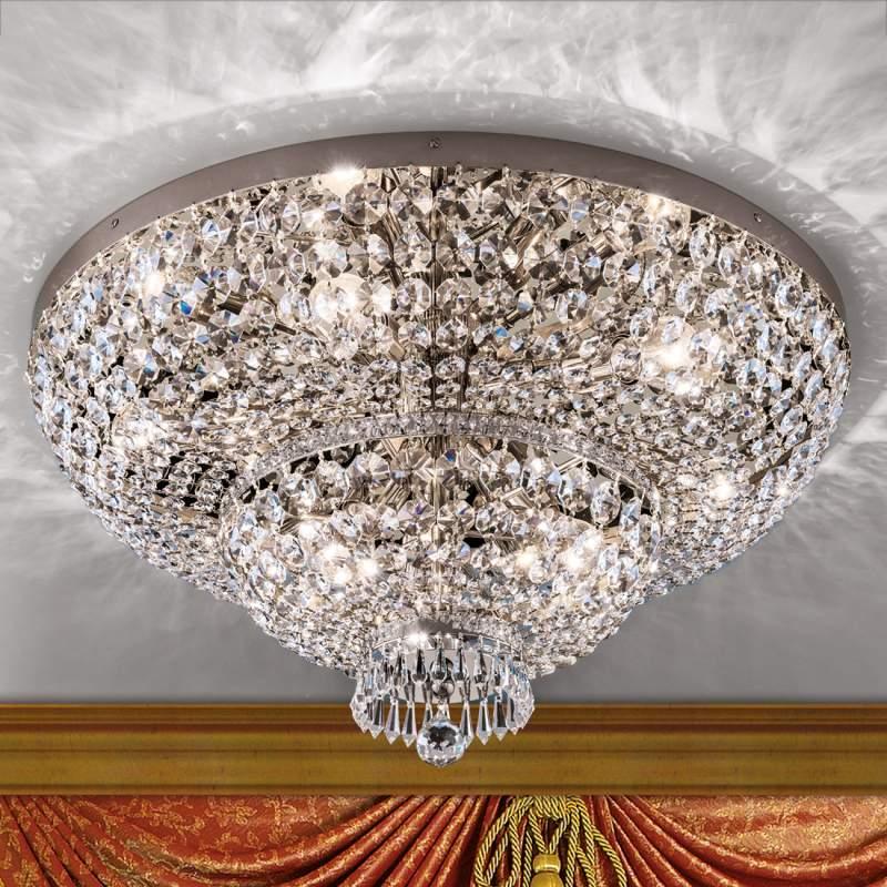 Prachtige kristallen plafondlamp Sheraton chroom