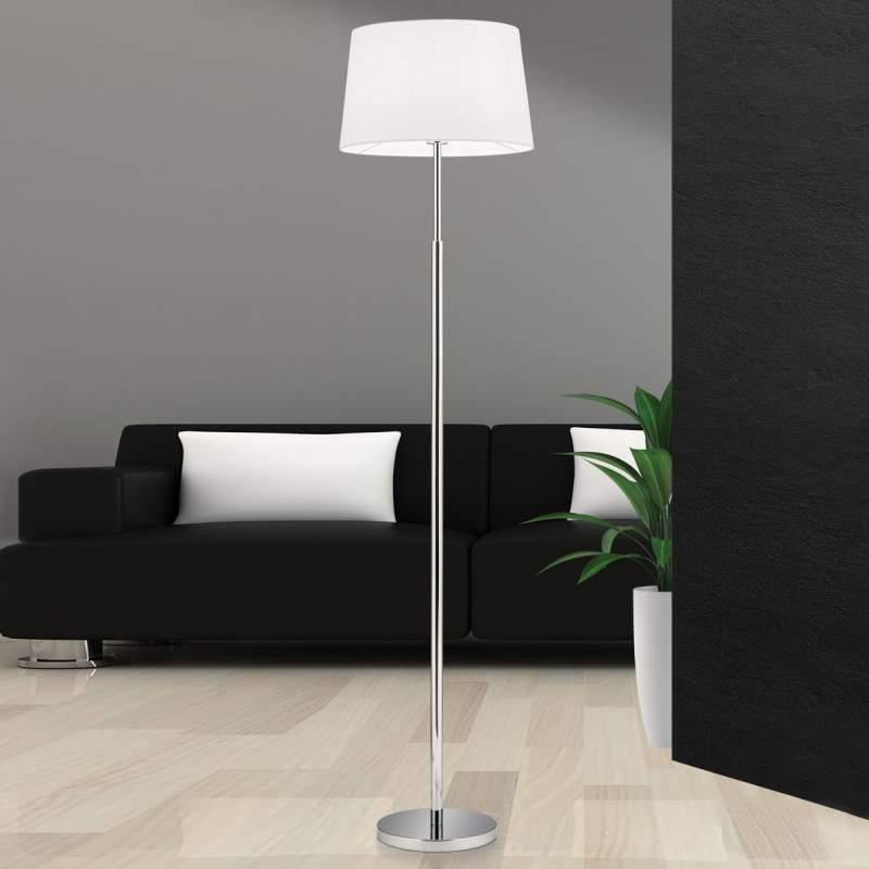 Staande lamp Vardan met wit linnen kap