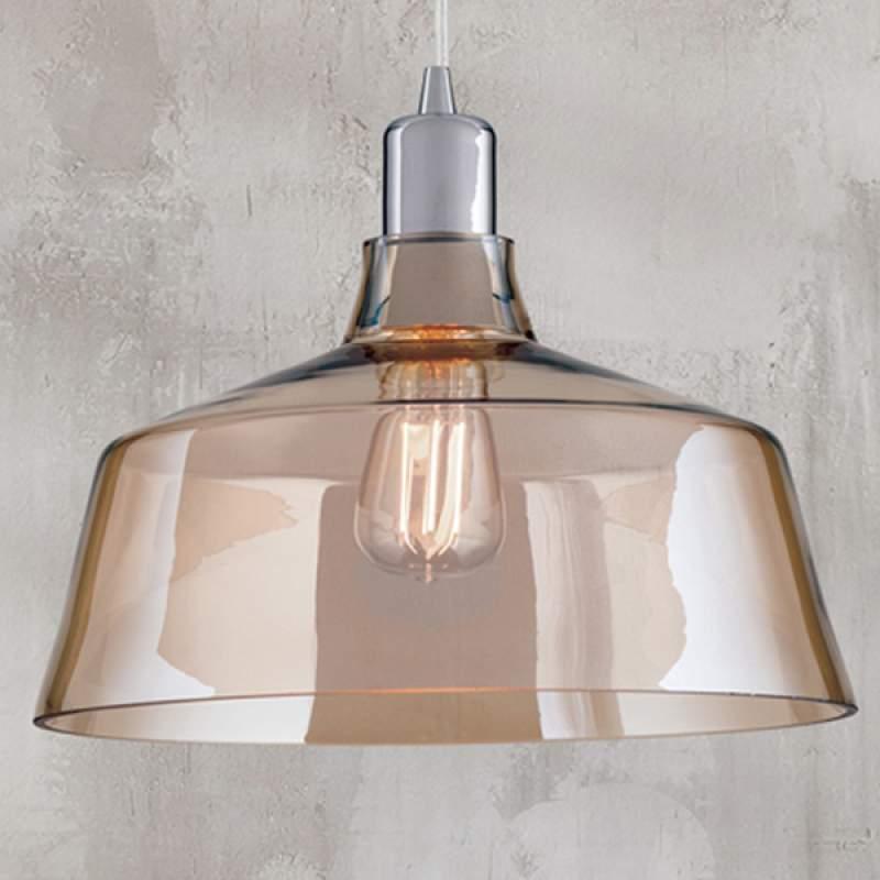 Glazen hanglamp Saroja, cognac