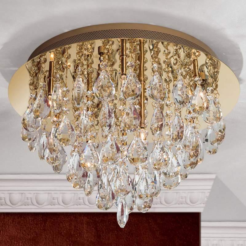 Kristallen plafondlamp Helene in goud, 45 cm