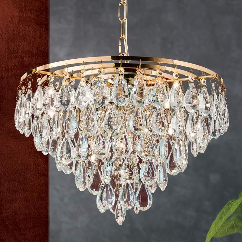 Gouden kristallen hanglamp Helene