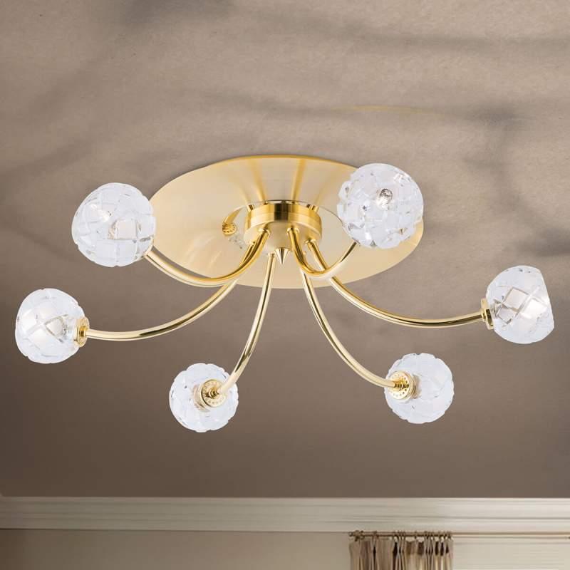 Plafondlamp Maderno met zes lampen, goud