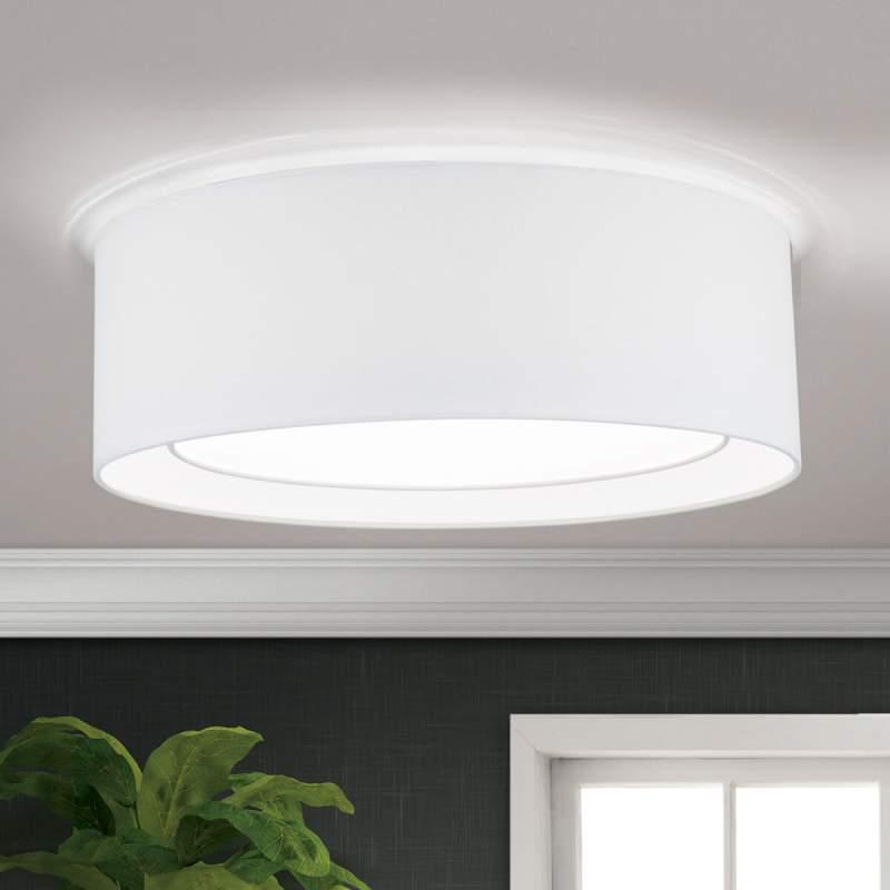 Ronde stoffen plafondlamp Antoni in wit