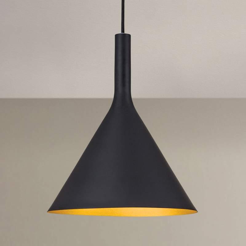 buiten zwart, binnen goud - hanglamp Gunda