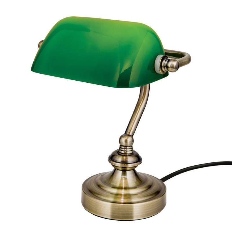 Zora - bankier tafellamp met groene glazen kap