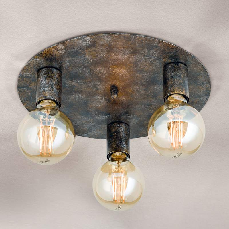 Plafondlamp Rati met vintage-look, 3 lampen