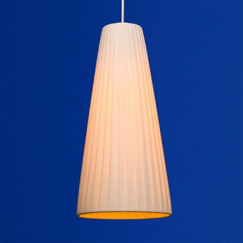 Geplisseerde hanglamp Konte, in beige