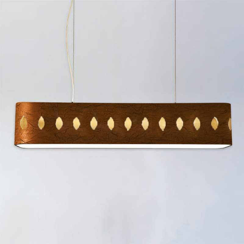 Grote stoffen hanglamp Lavina, 160 cm, bruin