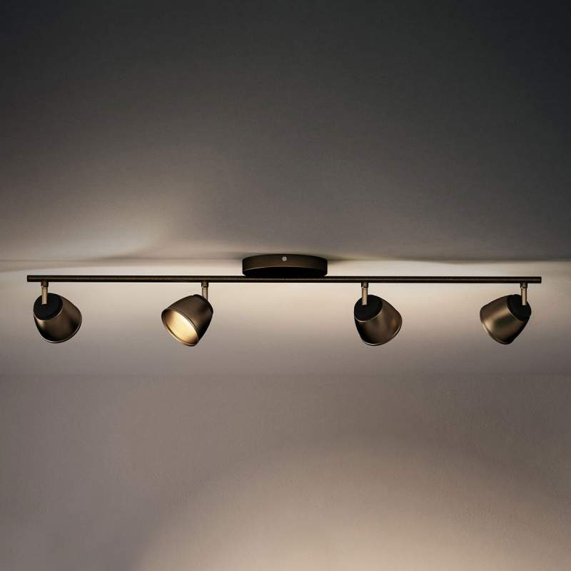 Bronskleurige LED plafondlamp County 4 lichtbr.