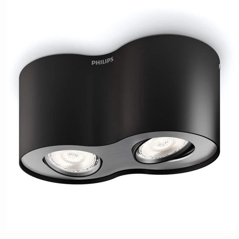 Phase - zwarte LED straler met 2 lichtbronnen
