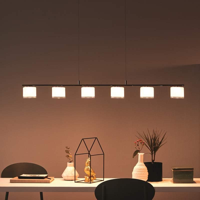 Langwerpige LED pendellamp in chroomlook