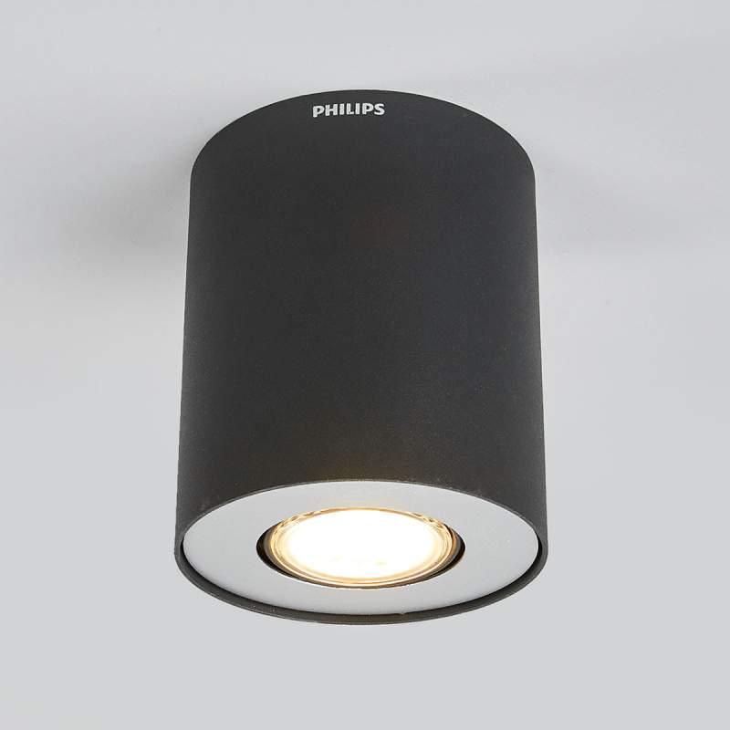 Cilindische LED opbouwspot Pillar in zwart