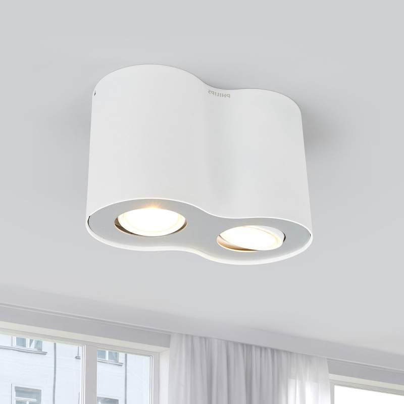 2-Spots LED opbouwplafondlamp Pillar in wit