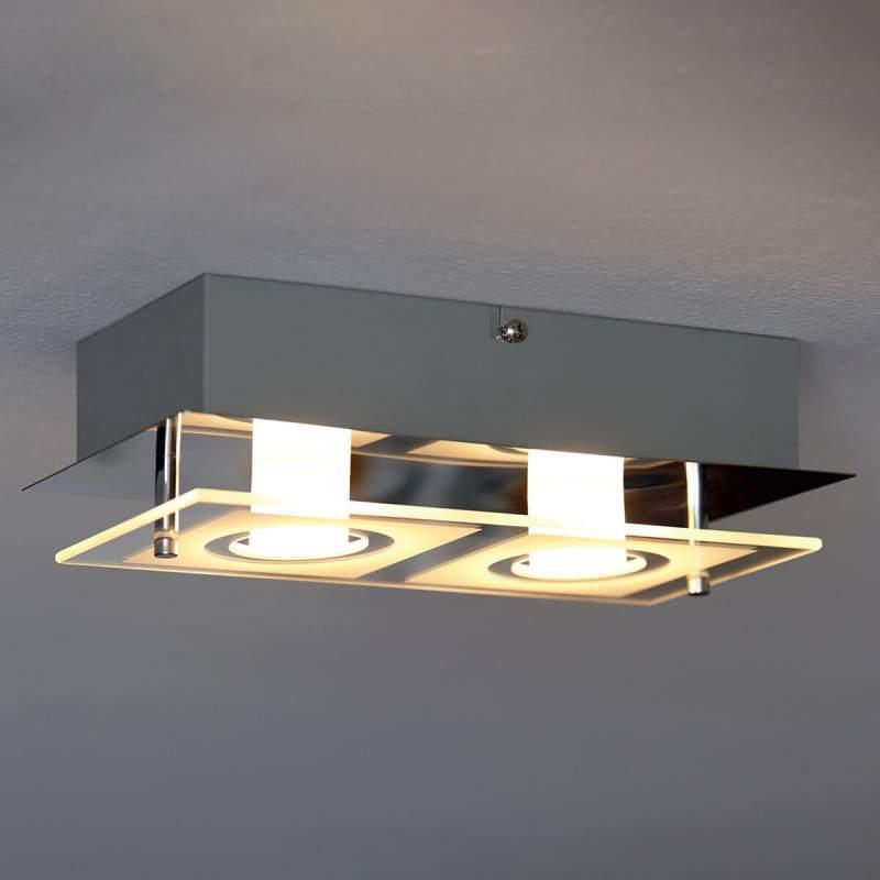 Langwerpige LED plafondlamp Polygon, met 2 lampen