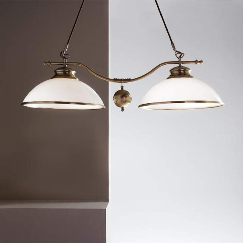 Hanglamp HARVEY in oud-messing, 2-lichts