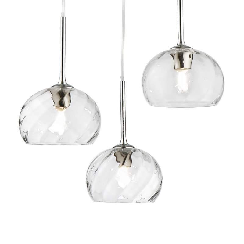 3-lichts hanglamp Camilla met glazen kap
