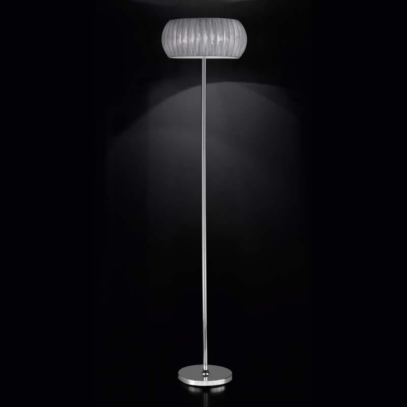 Textiel-staande lamp Amaru met zilvergrijs scherm