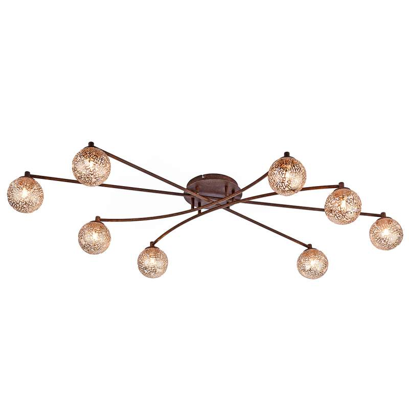 Plafondlamp Greta met 8 lichtbronnen in roest-look