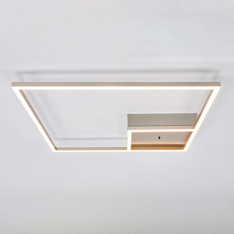 Hoekige LED plafondlamp Bobi van roestvrij staal