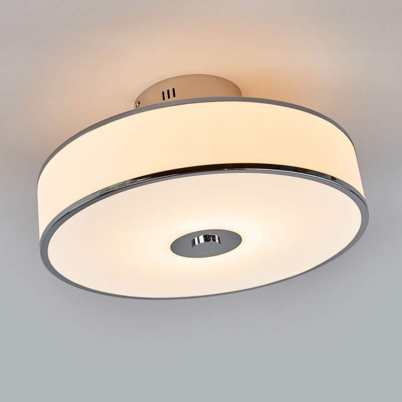 Dimbare LED plafondlamp Lounge in wit/chroom