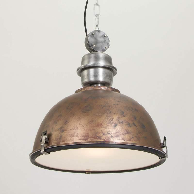Koperbruine hanglamp Bikkel in industriële look