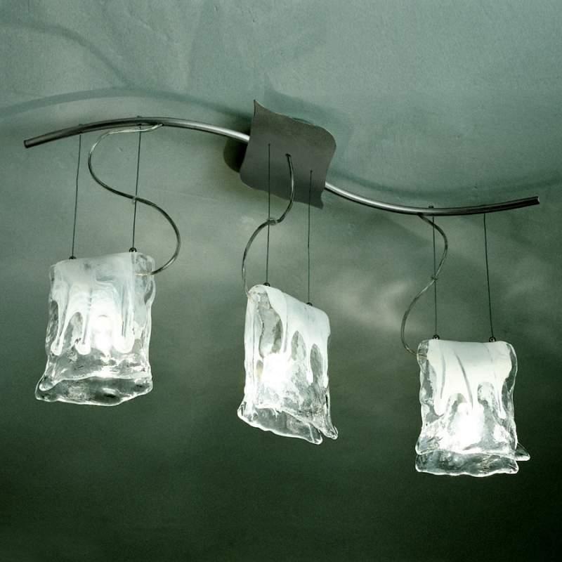 3-lichts hanglamp MURANO met albasten glas