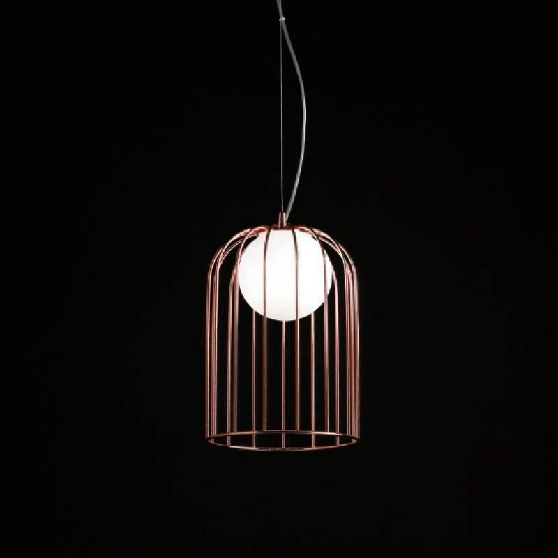 Kleine hanglamp Kluvi met koperen kap