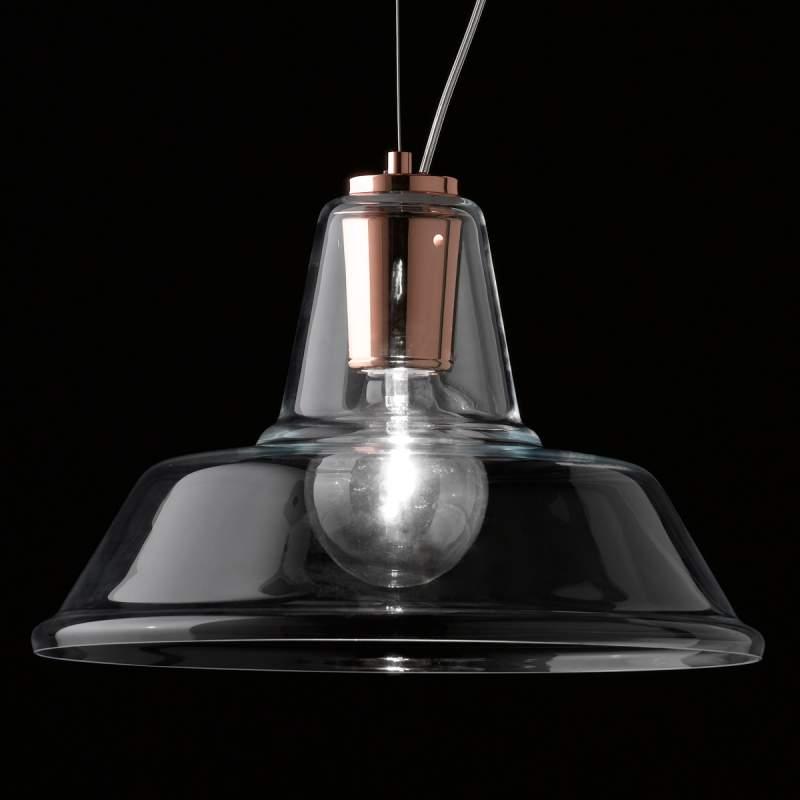 Glazen Lampara hanglamp met koperen element