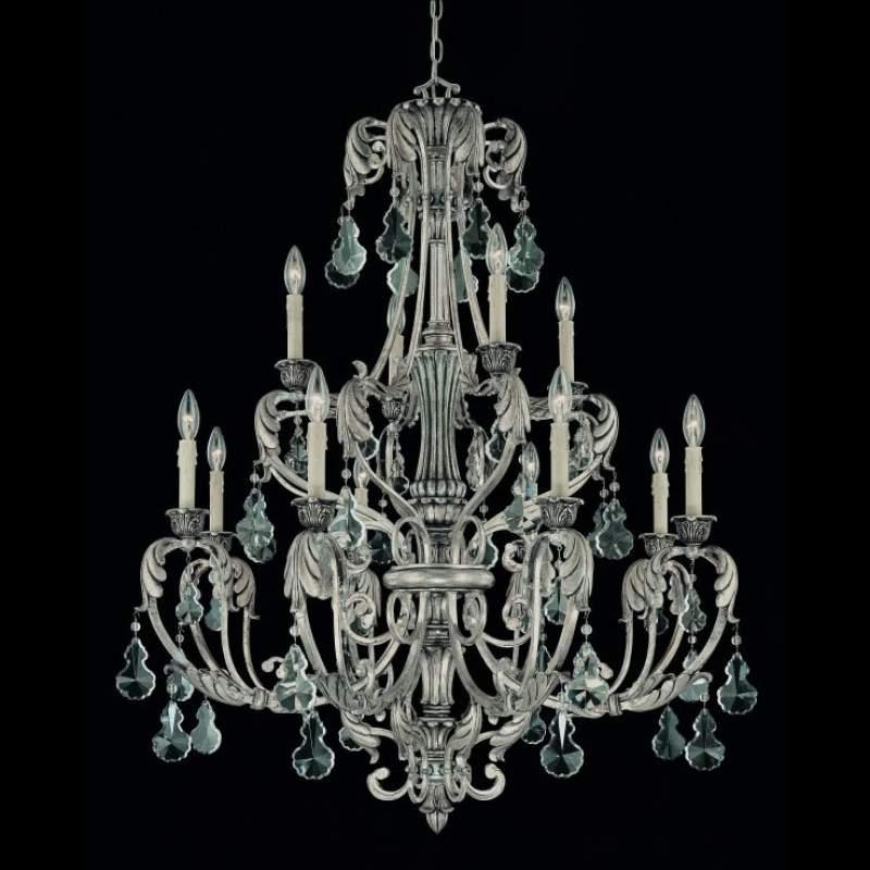 Zilveren kroonluchter FLORITA, 12-lichts