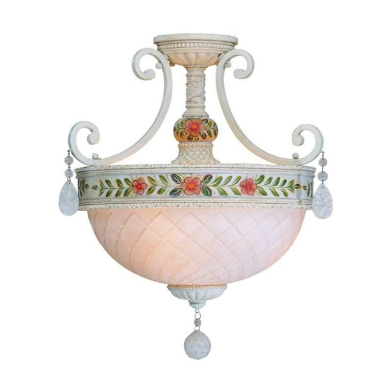 Handbeschilderde plafondlamp Evelyn