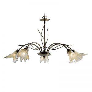 Klassieke hanglamp LILY, 5-lichts, oud-messing